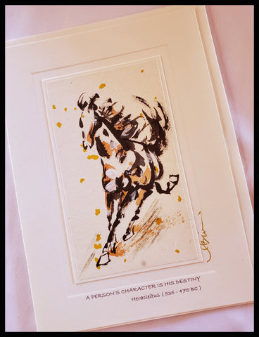 "ADA Hand painted watercolor and rice paper 5.5"" x 7.5"" card with envelope, blank on inside with ""a persons character is his destiny"" quote by Heracleitus printed on front with image of horse by The Gilded Page near me greeting card"