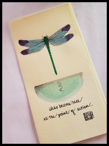 Blue & Green Glitter Hand Painted Dragonfly Card