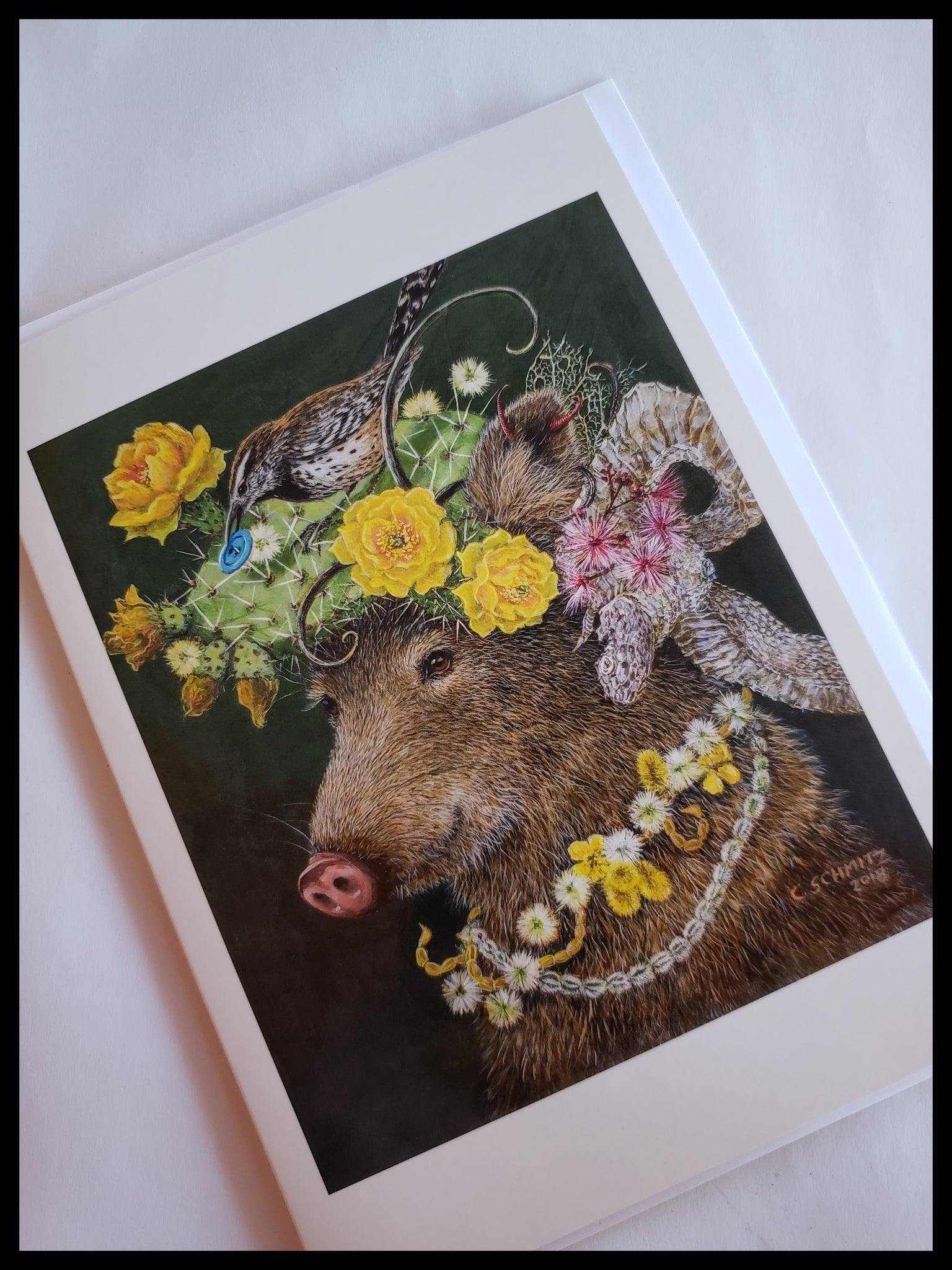 Boar With Flower Hat Card