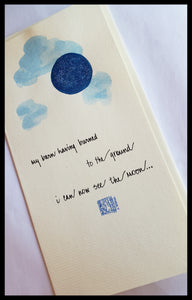 Blue Moon Hand Painted Card