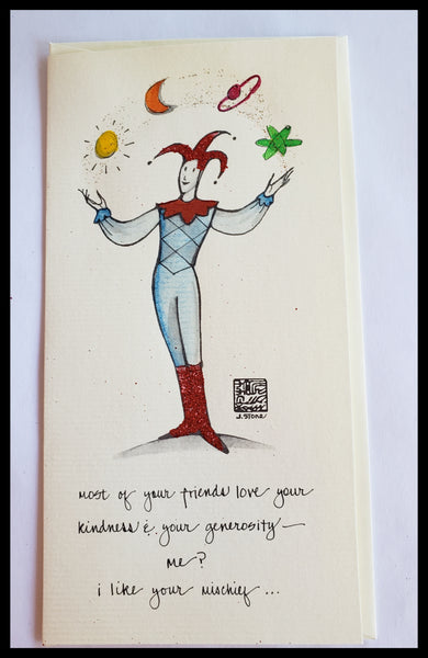 Hand Painted Juggler Card