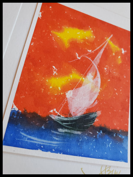 Hand Painted Boat on Blue Water with Red Skies Card