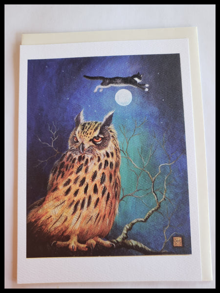 Night Owl & Cat Jumping Over the Moon Card