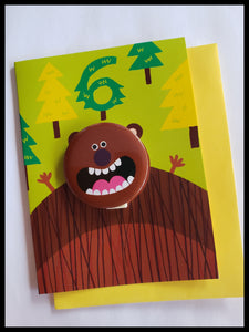 Brown Bear 6 Birthday Button Card