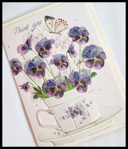 Thank You Embossed Flower Card