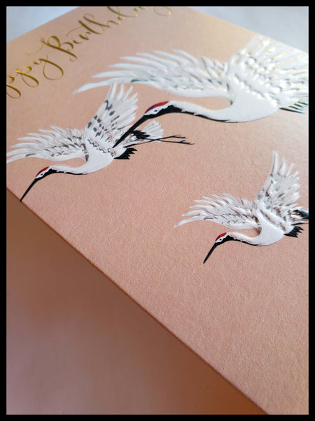 Red-Crowned Crane Happy Birthday Card