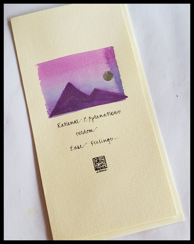 Hand Painted Purple Mountains Card