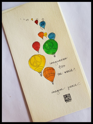 Hand Painted Hot Air Balloon Card