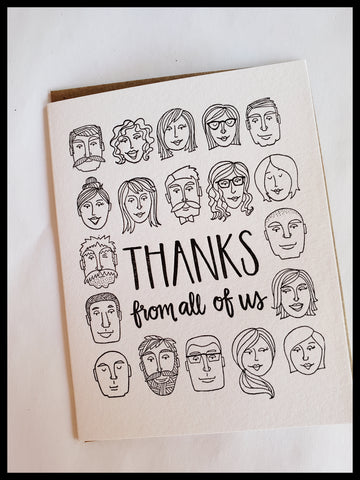 Thanks From All Of Us Card