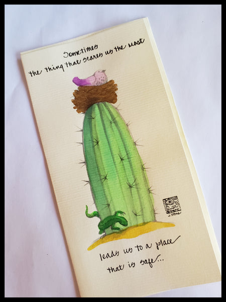 Hand Painted Cactus with Card