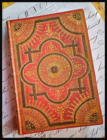 "Gilt-work red and gold design journal. 240 page 5"" x 7"" Lined soft cover. Pocket in back. ADA The Gilded Page SantaFe"
