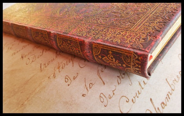 Lined Hardcover Antique Gold & Red Journal