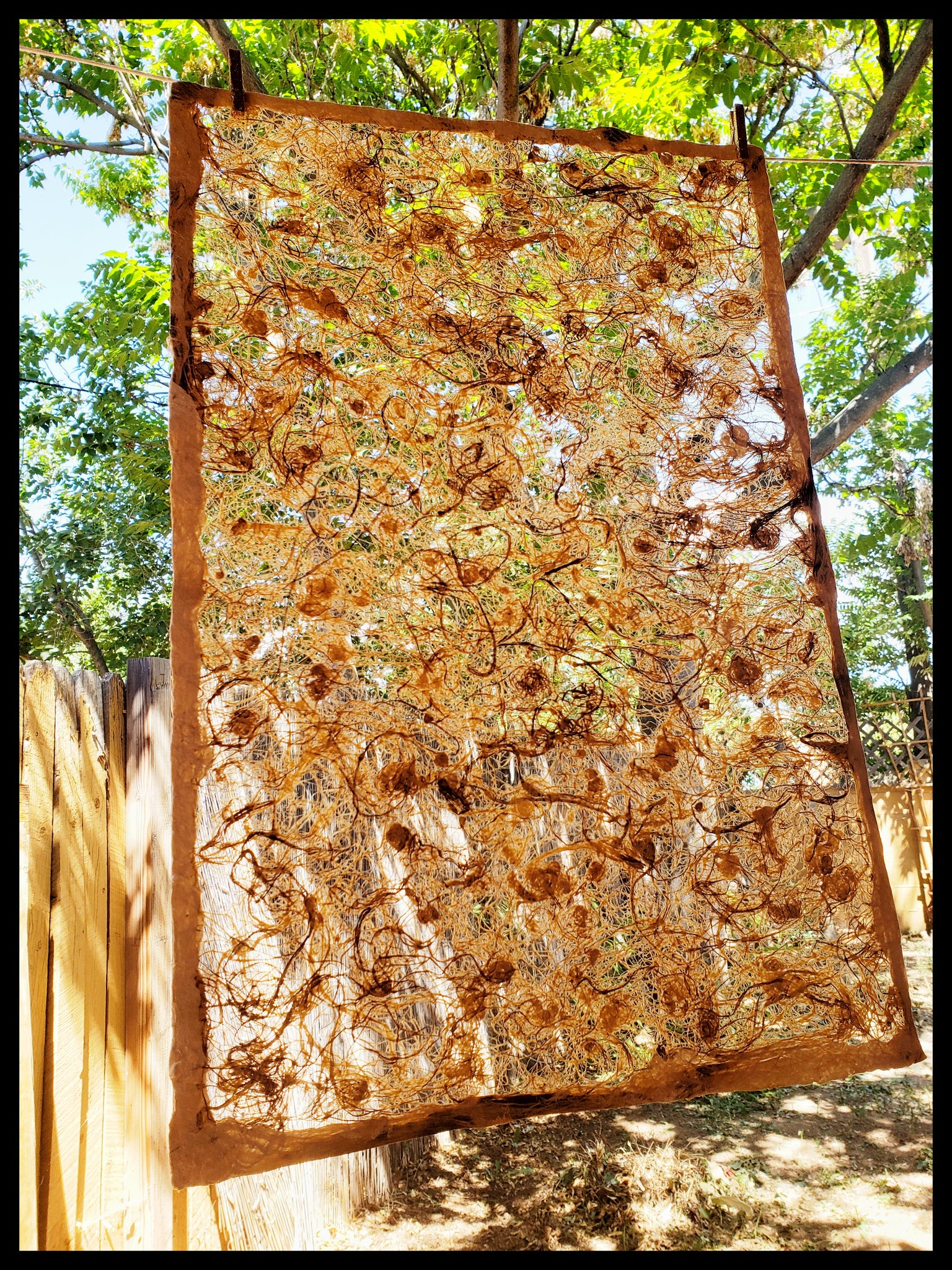 "Amate handmade paper abstract pattern wooden colors made in Mexico from wild fig trees approximately 16"" x 20"" patterns vary ADA the gilded page Santa Fe"