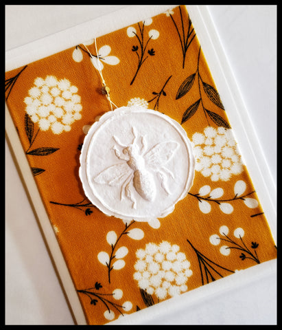 "Bee paper cast with yellow mustard and white background handcrafted card blank inside removable ornament 4.5"" x 6"" with envelope ADA The Gilded Page Santa Fe"