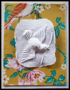 "Bird paper cast with floral bird background handcrafted card blank inside removable ornament 4.5"" x 6"" with envelope ADA The Gilded Page Santa Fe"
