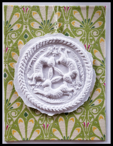 "three rabbits paper cast with green floral background handcrafted card blank inside removable ornament 4.5"" x 6"" with envelope ADA The Gilded Page Santa Fe"