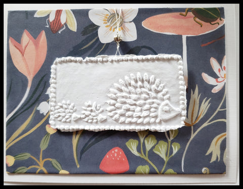 "Three hedgehog paper cast with nature background handcrafted card blank inside removable ornament 4.5"" x 6"" with envelope ADA The Gilded Page Santa Fe"