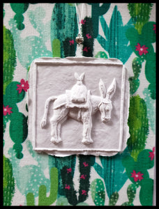 "Floral Paper cast Burro with cactus background handcrafted card blank inside removable ornament 4.5"" x 6"" with envelope ADA The Gilded Page Santa Fe"