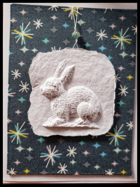 "Rabbit paper cast with navy stars background handcrafted card blank inside removable ornament 4.5"" x 6"" with envelope ADA The Gilded Page Santa Fe"