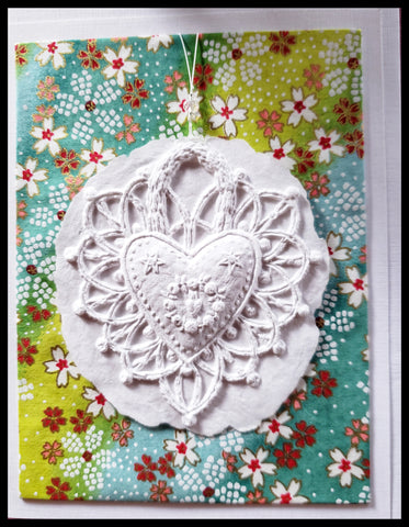 "Heart paper cast with green and blue background handcrafted card blank inside removable ornament 4.5"" x 6"" with envelope ADA The Gilded Page Santa Fe"