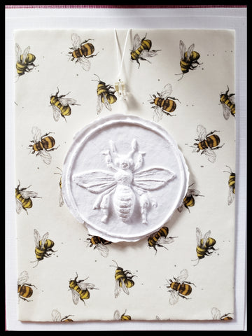 "Bee Paper Cast with mini bee background handcrafted card blank inside removable ornament 4.5"" x 6"" with envelope ADA The Gilded Page Santa Fe"