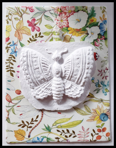 "Butterfly paper cast with floral background handcrafted card blank inside removable ornament 4.5"" x 6"" with envelope ADA The Gilded Page Santa Fe"