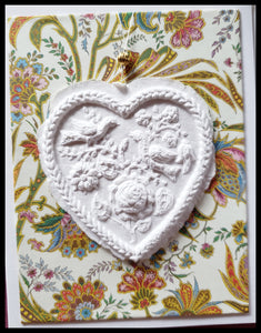 "Floral heart paper cast with colorful floral background handcrafted card blank inside removable ornament 4.5"" x 6"" with envelope ADA The Gilded Page Santa Fe"