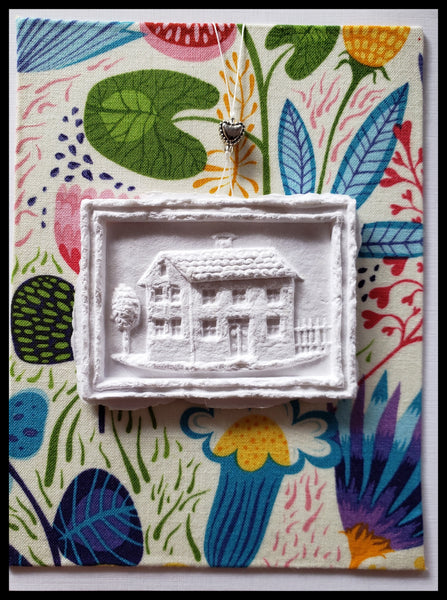 "House paper cast floral background handcrafted card blank inside removable ornament 4.5"" x 6"" with envelope ADA The Gilded Page Santa Fe"