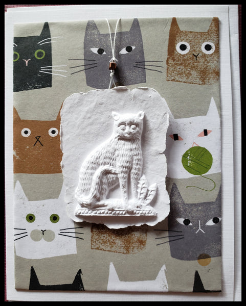 "cat paper cast with animated cat background handcrafted card blank inside removable ornament 4.5"" x 6"" with envelope ADA The Gilded Page Santa Fe"