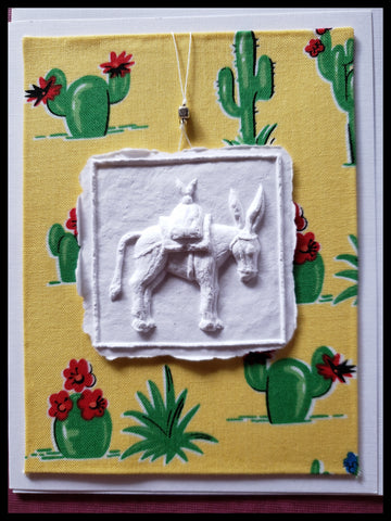 "Donkey paper cast with cactus background handcrafted card blank inside removable ornament 4.5"" x 6"" with envelope ADA The Gilded Page Santa Fe"