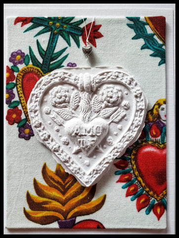 "sacred heart paper cast with Milagro background  handcrafted card blank inside removable ornament 4.5"" x 6"" with envelope ADA The Gilded Page Santa Fe"