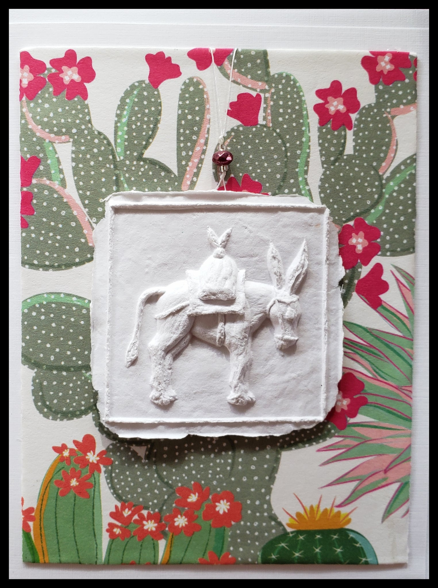 "donkey paper cast with cactus and flowers background handcrafted card blank inside removable ornament 4.5"" x 6"" with envelope ADA The Gilded Page Santa Fe"