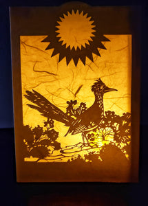 Handcrafted Luminaria or Farolito Road Runner in Desert and Sun 5x7 ADA Santa Fe New Mexico