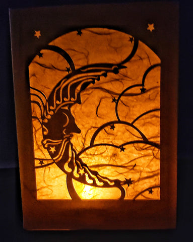 Luminaria, Farolito Handcrafted Moon Card
