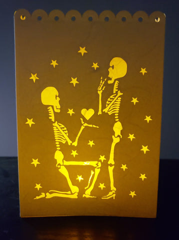 Handcrafted Luminaria or Farolito One Skeleton Proposing with heart in Hand to another skeleton 5x7 ADA The Gilded Page Santa Fe New Mexico