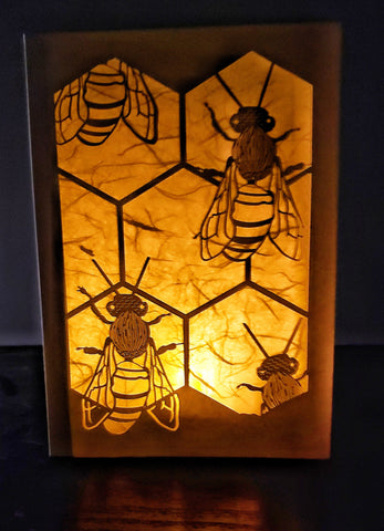Handcrafted Luminaria or Farolito Bees on Honeycomb 5x7 ADA Santa Fe New Mexico