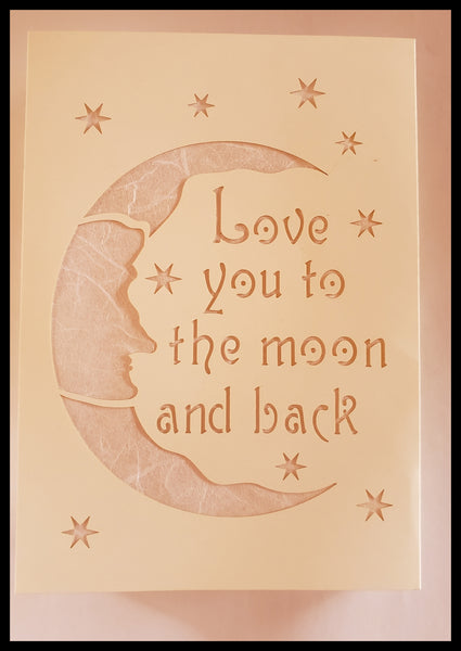Luminaria, Farolito Handcrafted Love You Moon Card