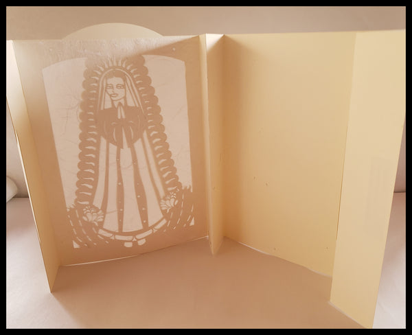 Luminaria, Farolito Handcrafted Virgin of Guadalupe Card