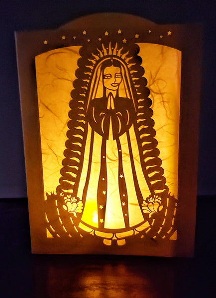 Handcrafted Luminaria or Farolito Virgin of the Guadalupe   5x7 ADA The Gilded Page Santa Fe New Mexico