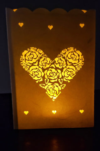 Handcrafted Luminaria or Farolito heart with rose pattern 5x7 ADA The Gilded Page Santa Fe New Mexico