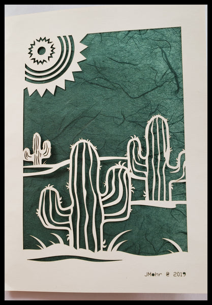 Die Cut Cactus with Sun Card dark green background 5x7 Blank Inside ADA The Gilded Page Santa Fe New Mexico