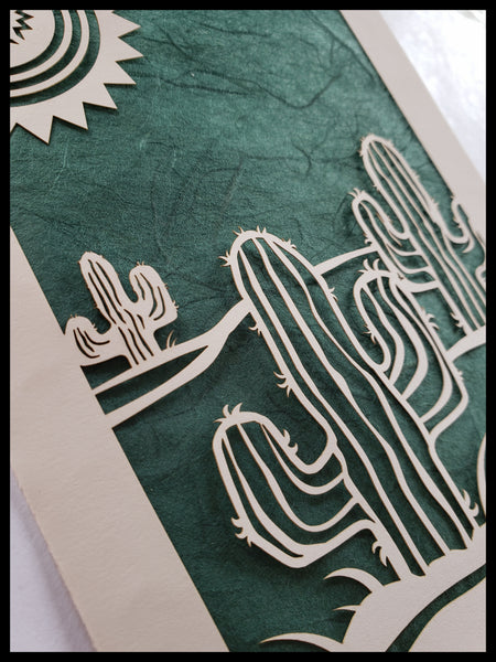 Handcrafted Laser Cut Dark Green Cactus Card