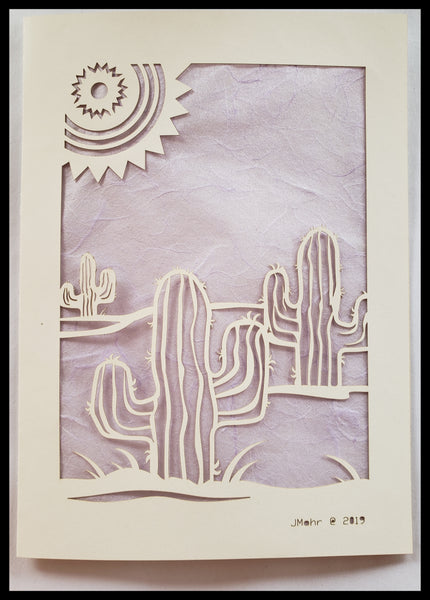 Die Cut Cactus with Sun Card light purple background 5x7 Blank Inside ADA The Gilded Page Santa Fe New Mexico