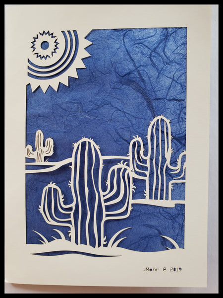 Die Cut Cactus with Sun Card dark blue background 5x7 Blank Inside ADA The Gilded Page Santa Fe New Mexico