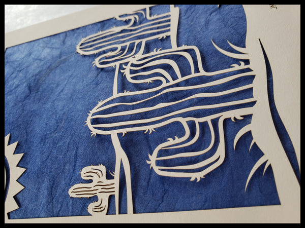 Handcrafted Laser Cut Dark Blue Cactus Card