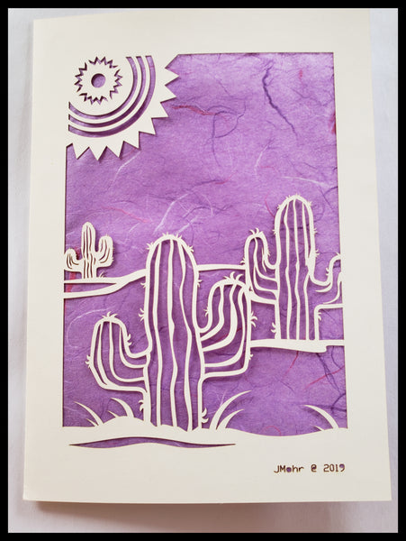 Die Cut Cactus with Sun Card purple background 5x7 Blank Inside ADA The Gilded Page Santa Fe New Mexico