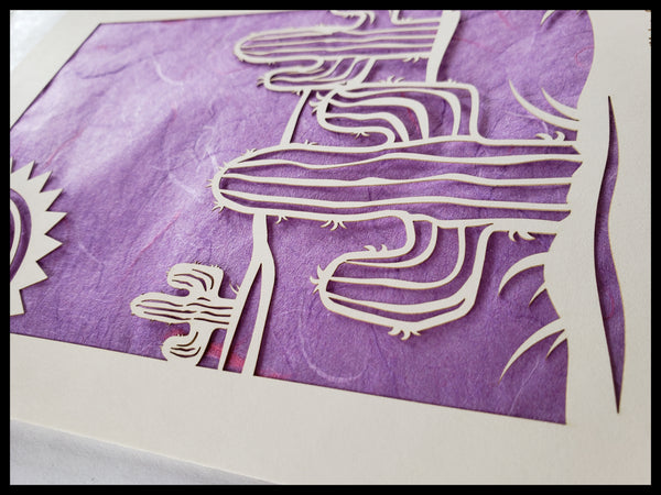 Handcrafted Laser Cut Purple Cactus Card