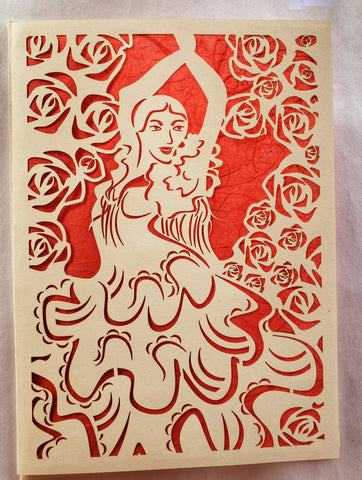 Die Cut Flamingo Dancer Surrounded by Roses White on red Background 5x7 Blank inside ADA The Gilded Page Santa Fe New Mexico