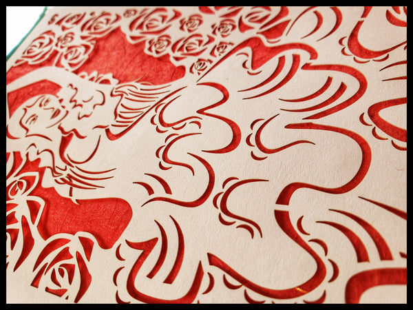 Handcrafted Laser Cut Red Flamingo Dancer Card