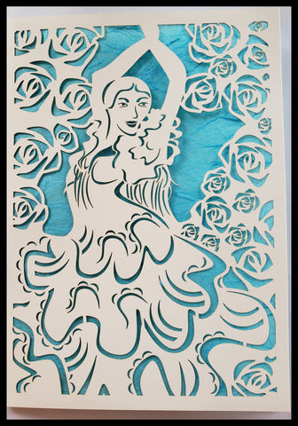 Die Cut Flamingo Dancer Surrounded by Roses White on LIGHT bLUE Background 5x7 Blank inside ADA The Gilded Page Santa Fe New Mexico